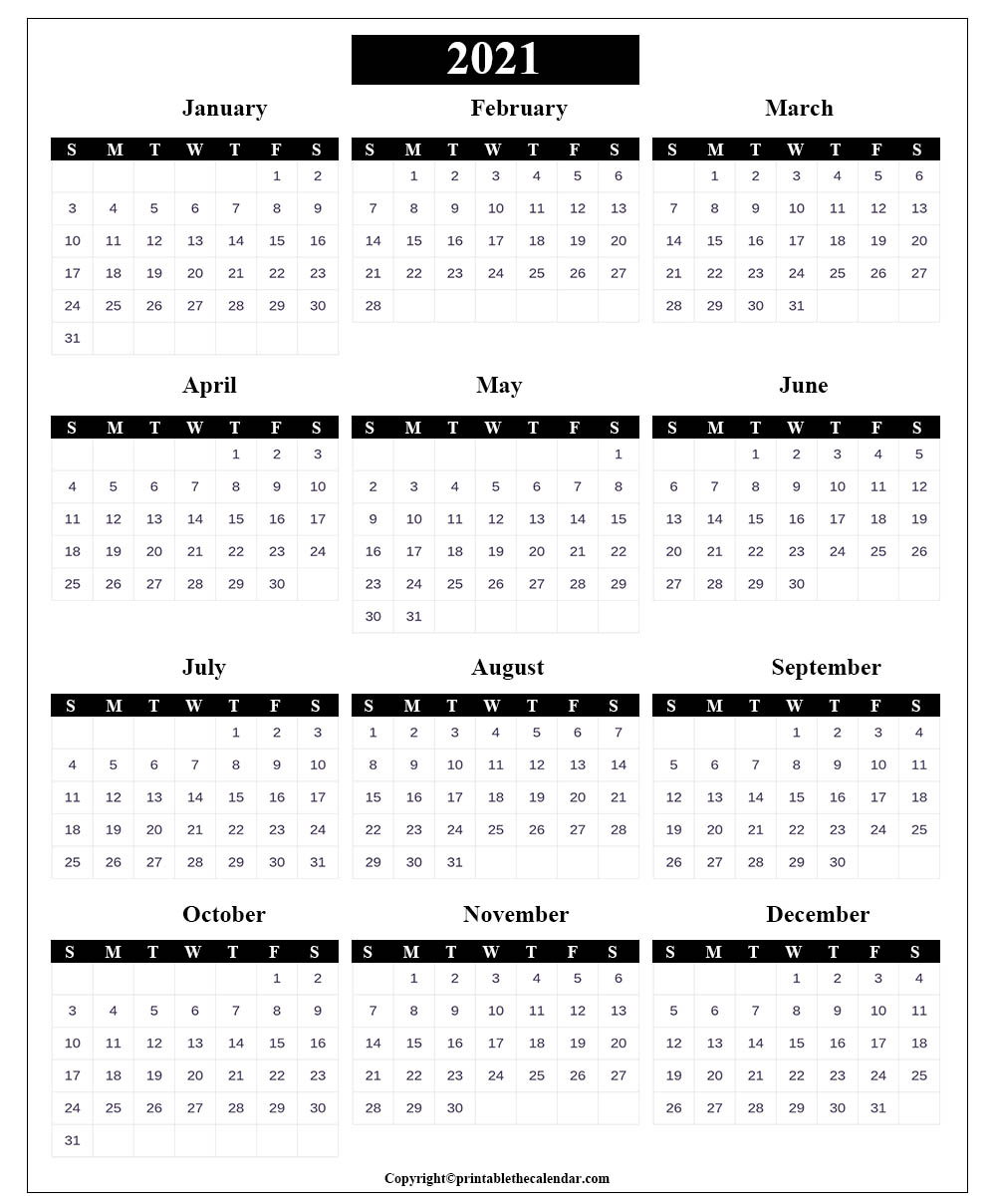 Blank Calendar 2021 with Holidays