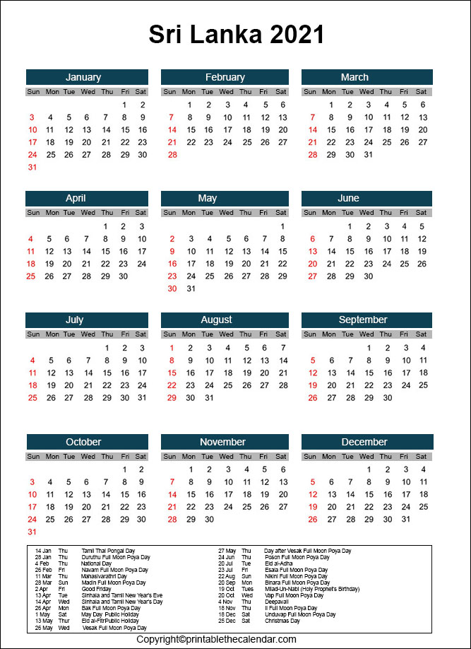 Calendar 2021 with Sri Lanka Holidays