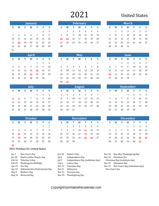 Calendar 2021 with USA Holidays