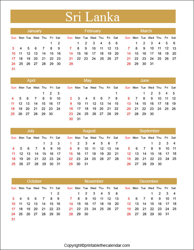 Yearly Calendar 2021 Sri Lanka