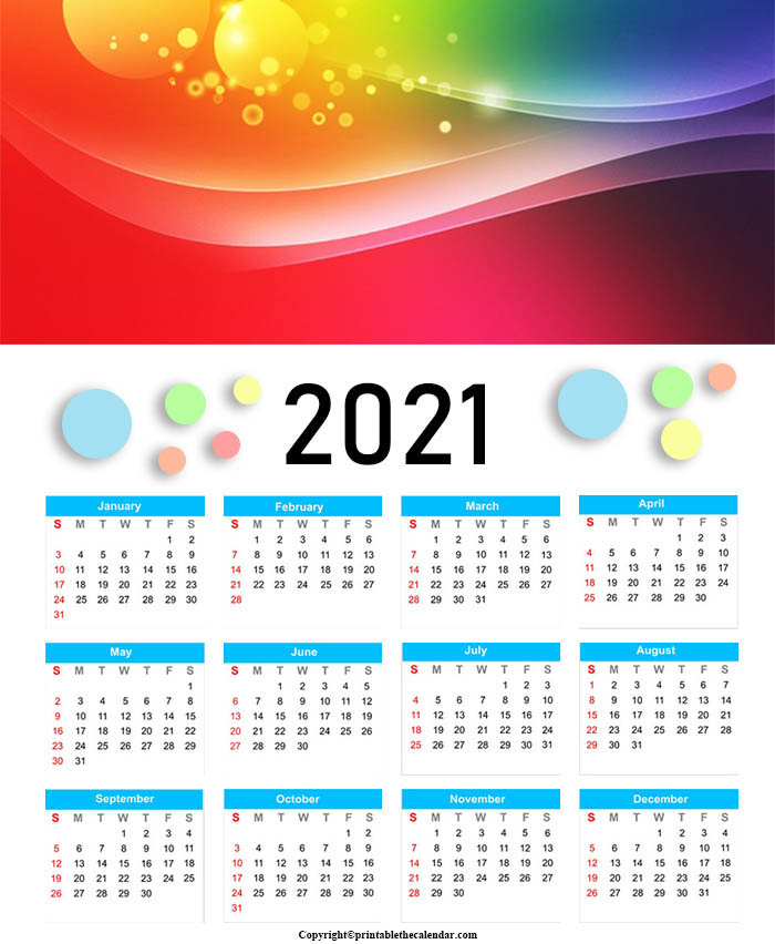 Yearly Calendar 2021 For Kids [Free Printable Template