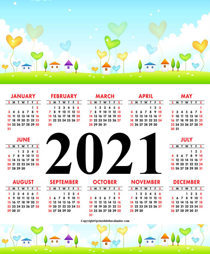 Yearly Calendar 2021 For Kids