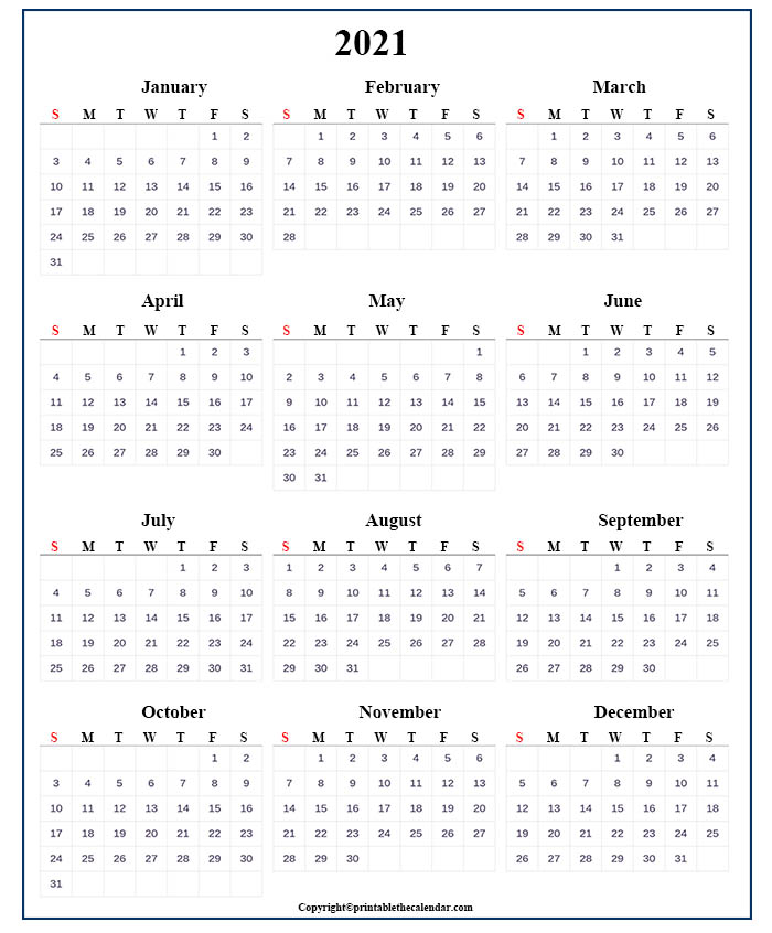 One Page Yearly Calendar 2021