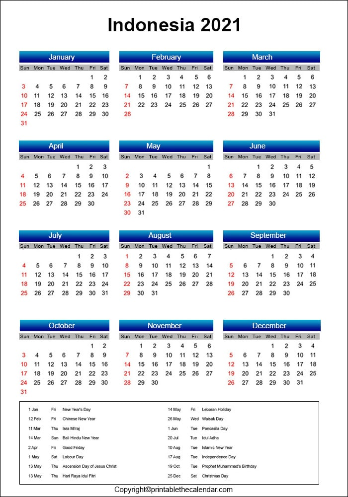 Printable Calendar 2021 Indonesia