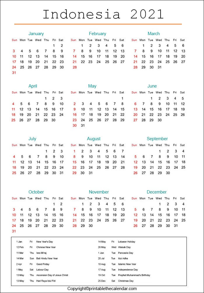 Indonesia 2021 Calendar with Holidays