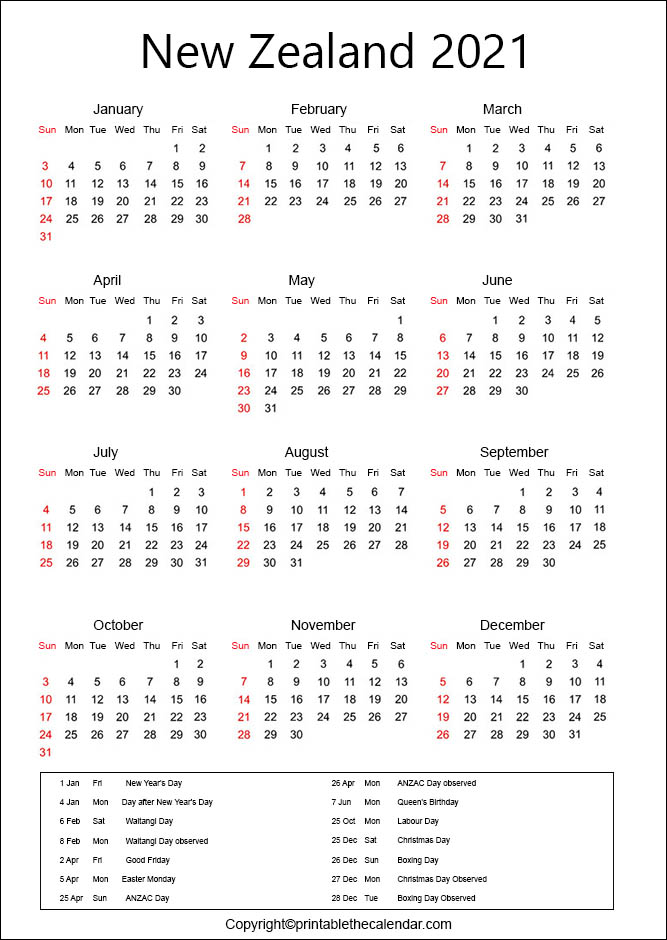 New Zealand Calendar 2021 With Holidays