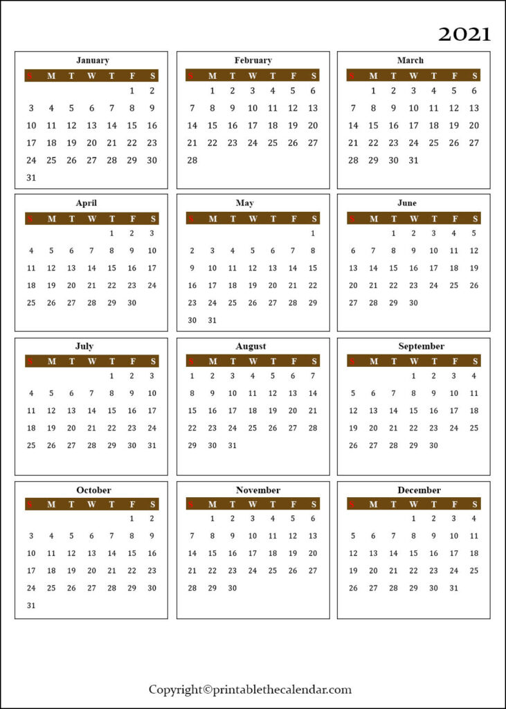 One Page Calendar Template 2021