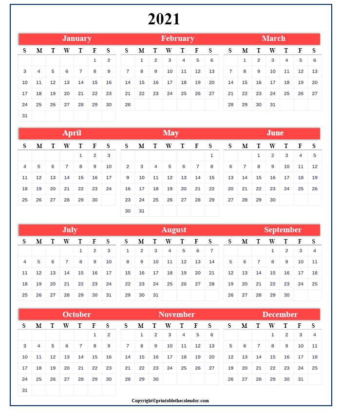 One Page Calendar 2021 [Free Printable Template ...