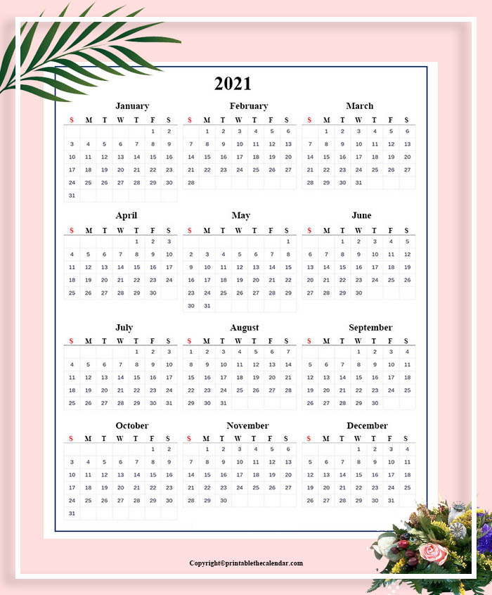 Annual Calendar 2021 For Kids