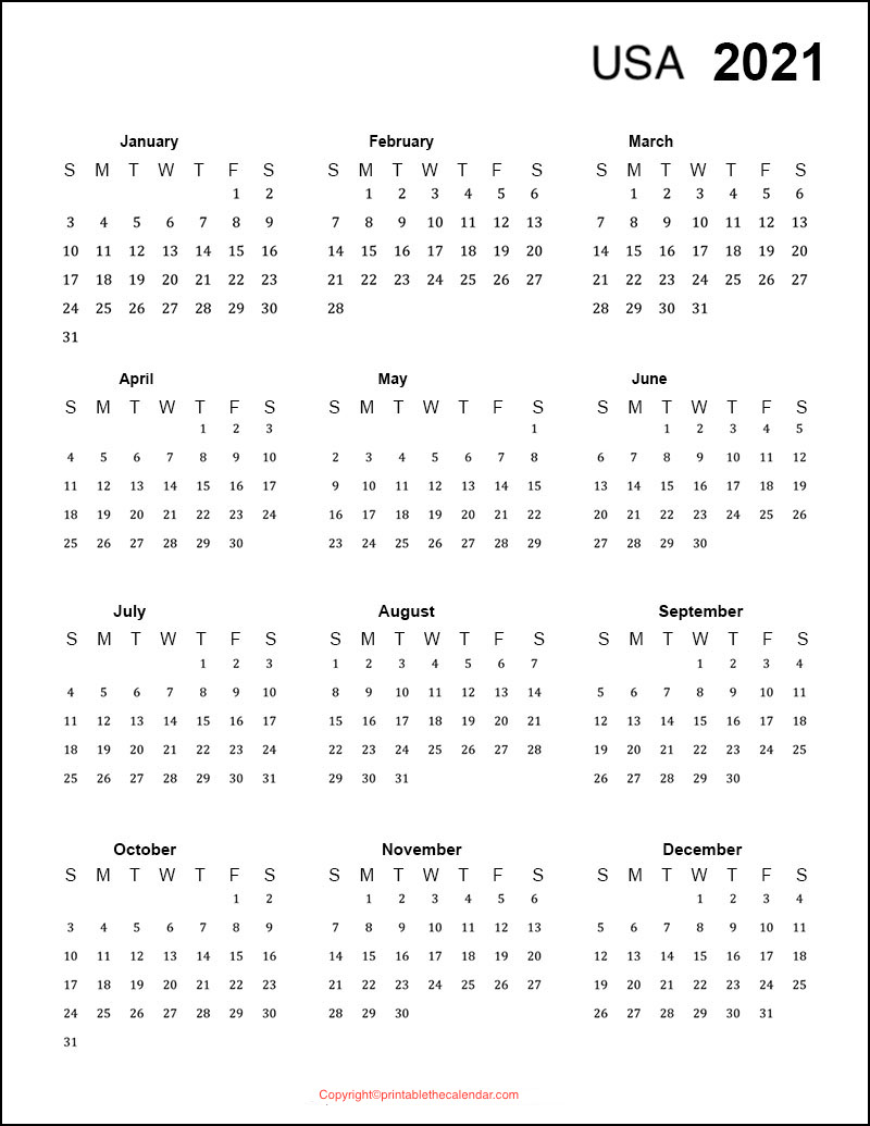 Yearly Calendar 2021 USA