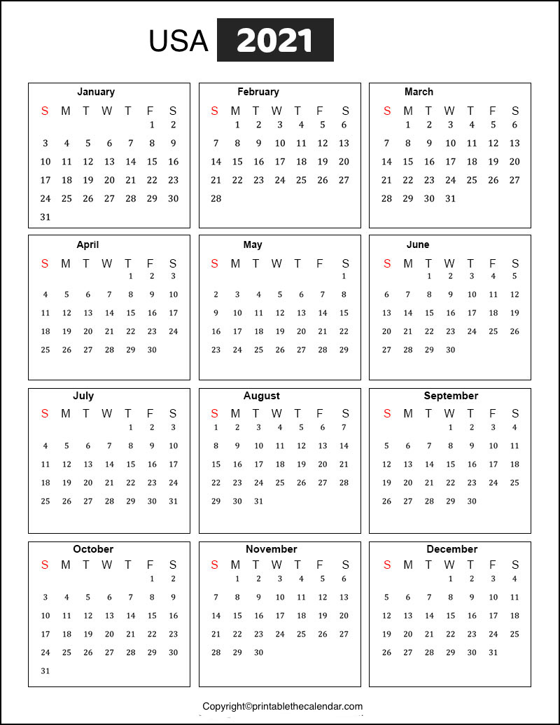 USA Holidays 2021 | Printable The Calendar