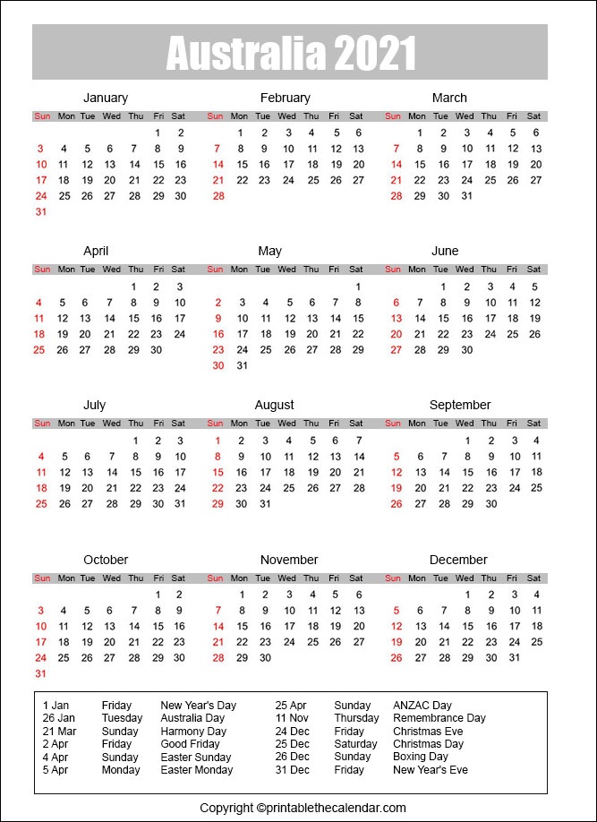 Australia Calendar 2021 with Holidays