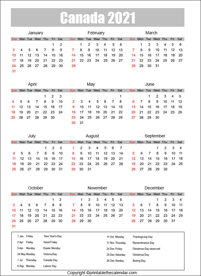 Canada Calendar with Holidays 2021
