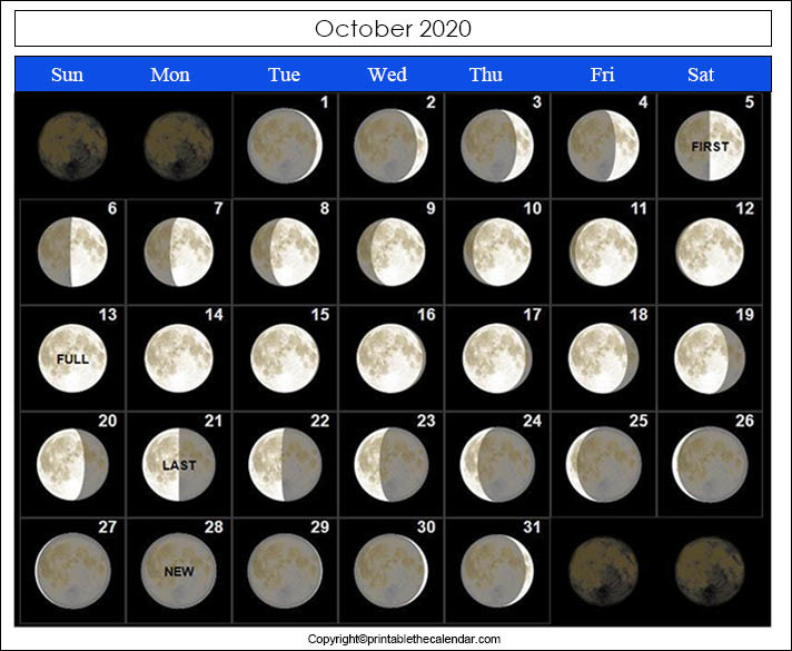 Full Moon Calendar 2020 October