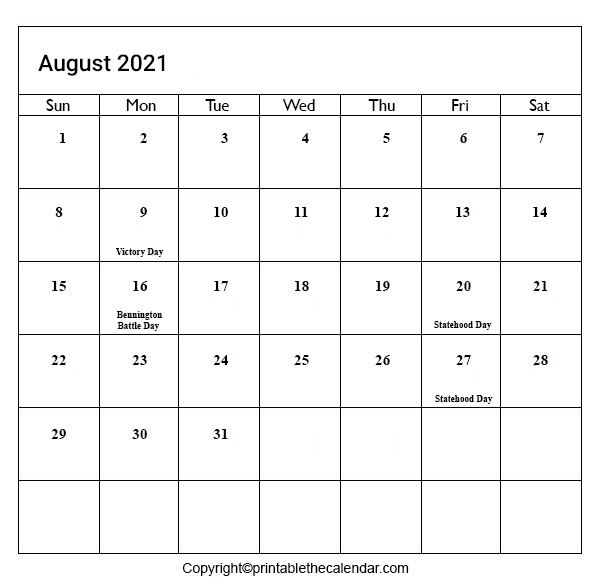 August 2021 Calendar August 2021 Calendar with Holidays [Free Printable Template