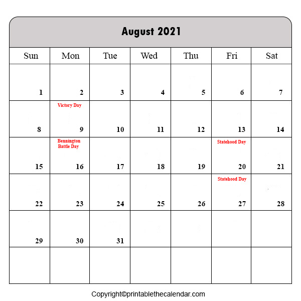 2021 Holiday in August