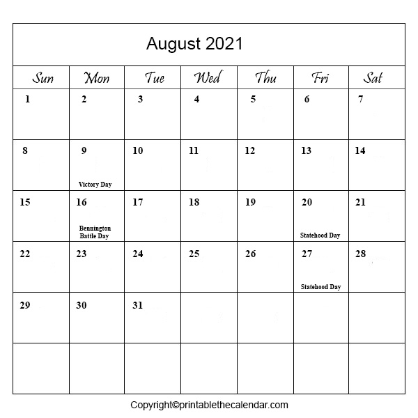 August 2021 Holiday Calendar