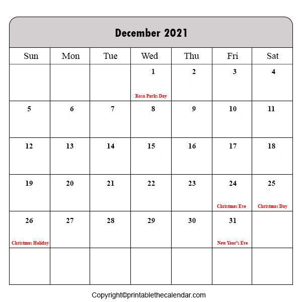 December 2021 Holiday Calendar