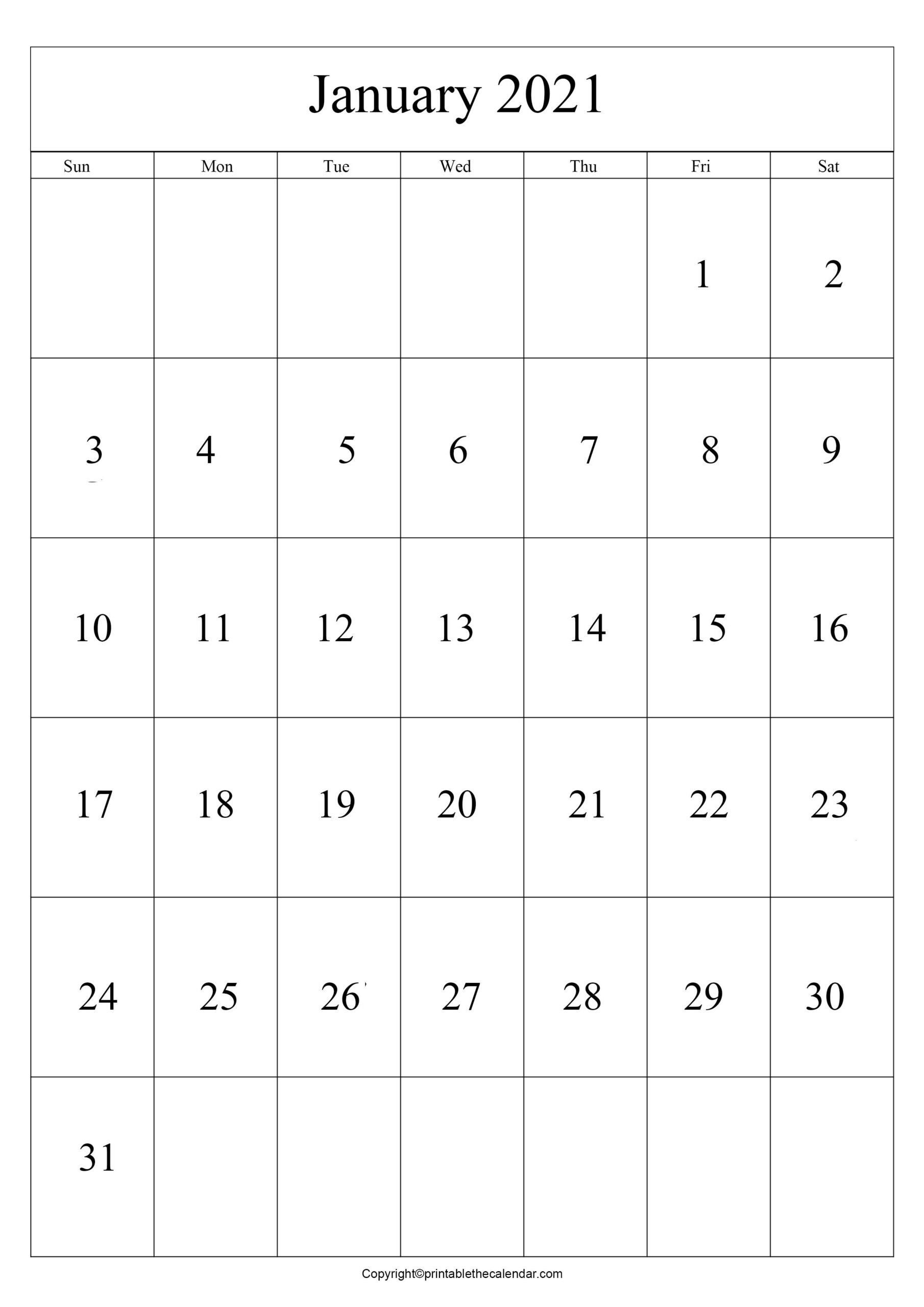 Printable January 2021 Calendar A4 Template