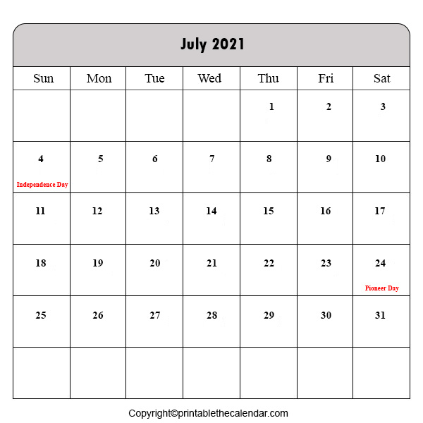 Holiday Calendar 2021 July