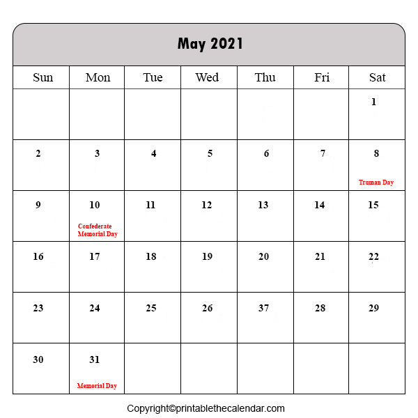 Holiday Calendar 2021 May
