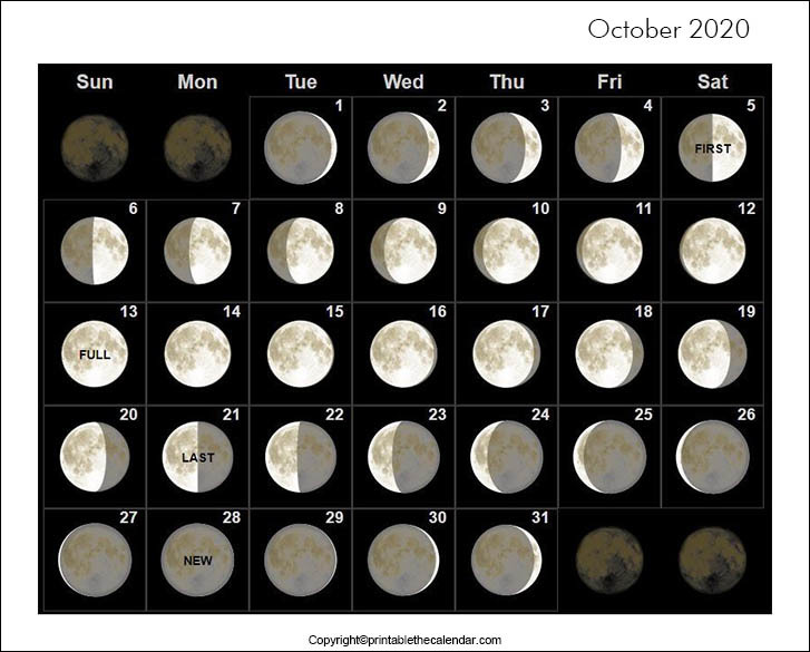 October 2020 Full Moon Calendar