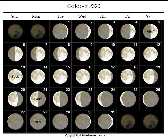 October 2020 Moon Phase Calendar
