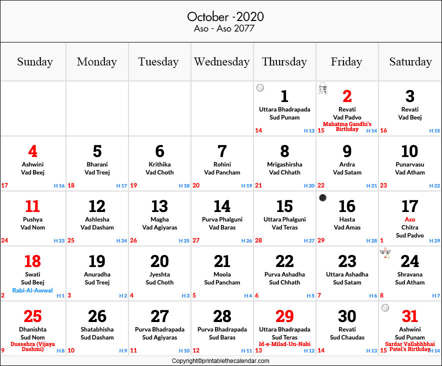 October 2020 Hindu Calendar with Tithi