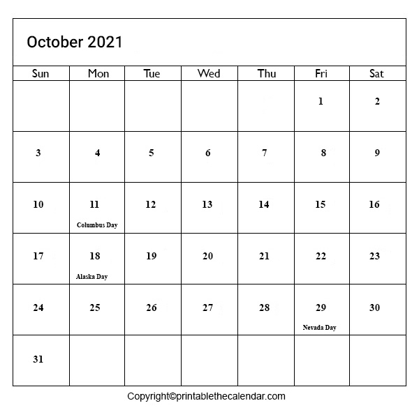 2021 Holidays in October