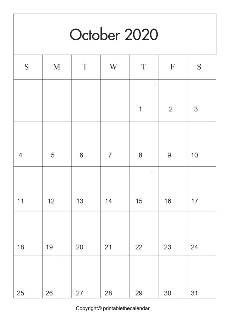 October Printable Calendar A4 Template