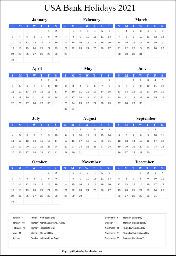 USA Bank Holidays 2021 | Printable The Calendar
