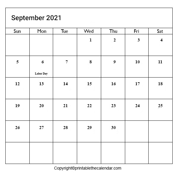 September 2021 Holiday Calendar