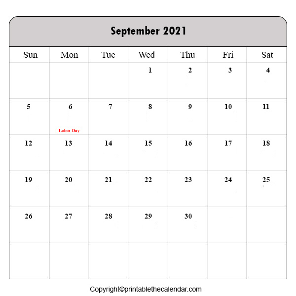 Holiday Calendar 2021 September