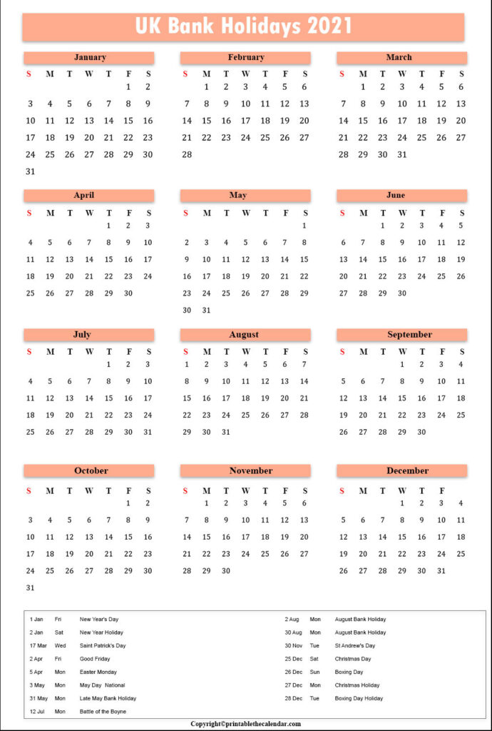 UK Bank Holiday Calendar 2021