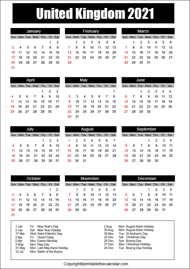 UK Calendar 2021 with Holidays