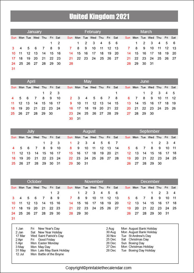 UK Holiday Calendar 2021