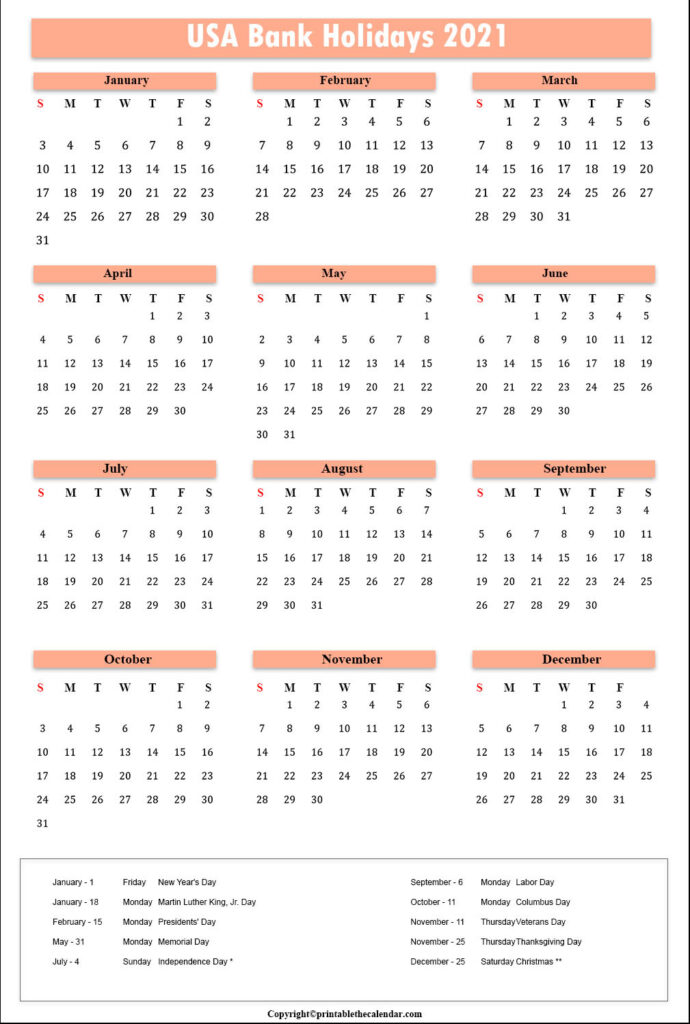 US Calendar 2021 with Bank Holidays