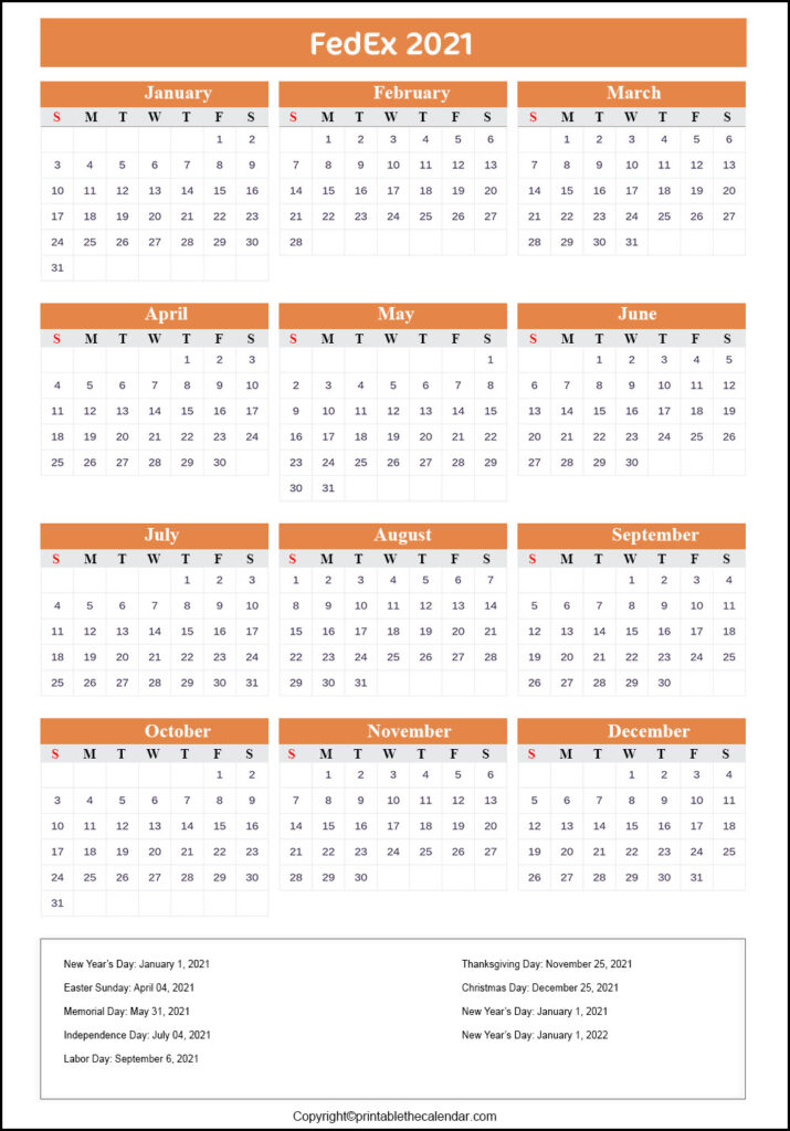 FedEx Holiday Calendar 2021