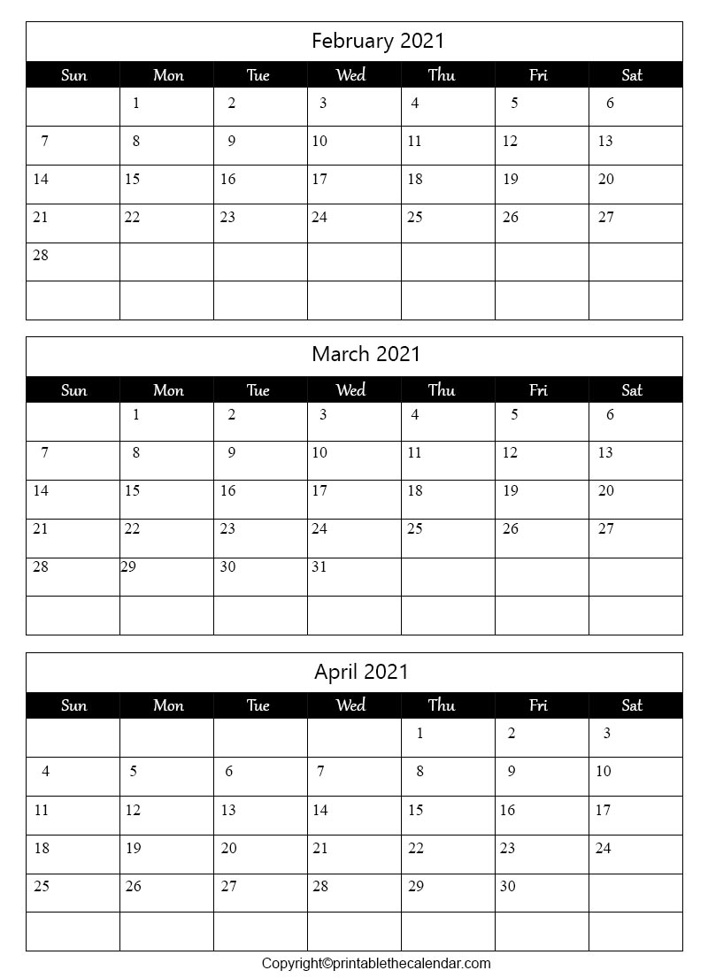 Free Printable February March April Calendar 2021