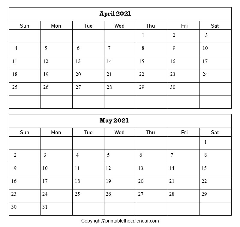 Free Printable April May 2021 Calendar