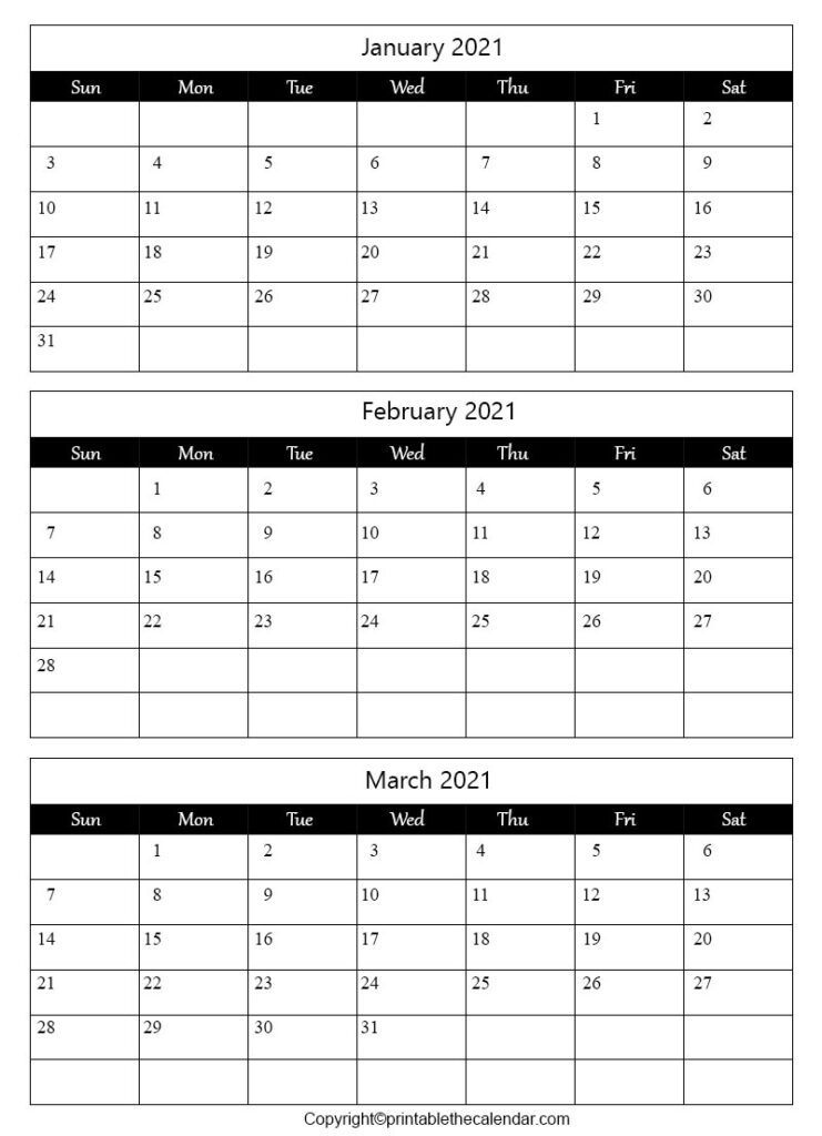 January February March Calendar 2021 Archives | Printable ...