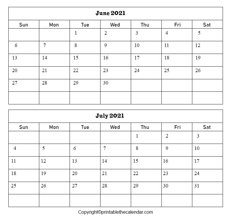 Free Printable June July Calendar 2021