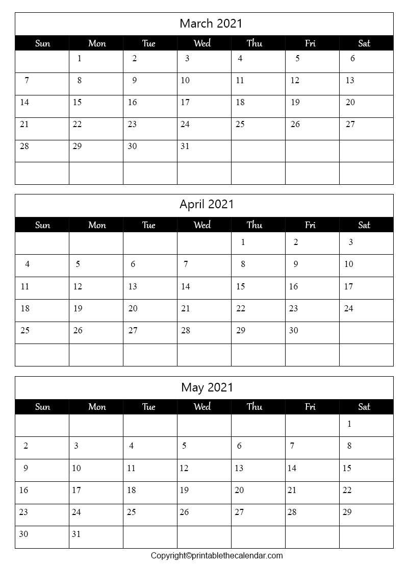 March April May 2021 Calendar