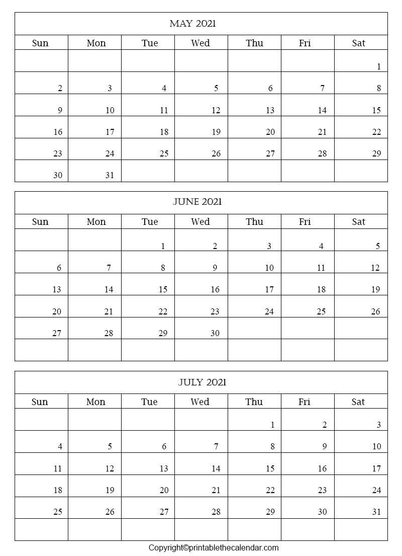 2021 May June July Calendar Template