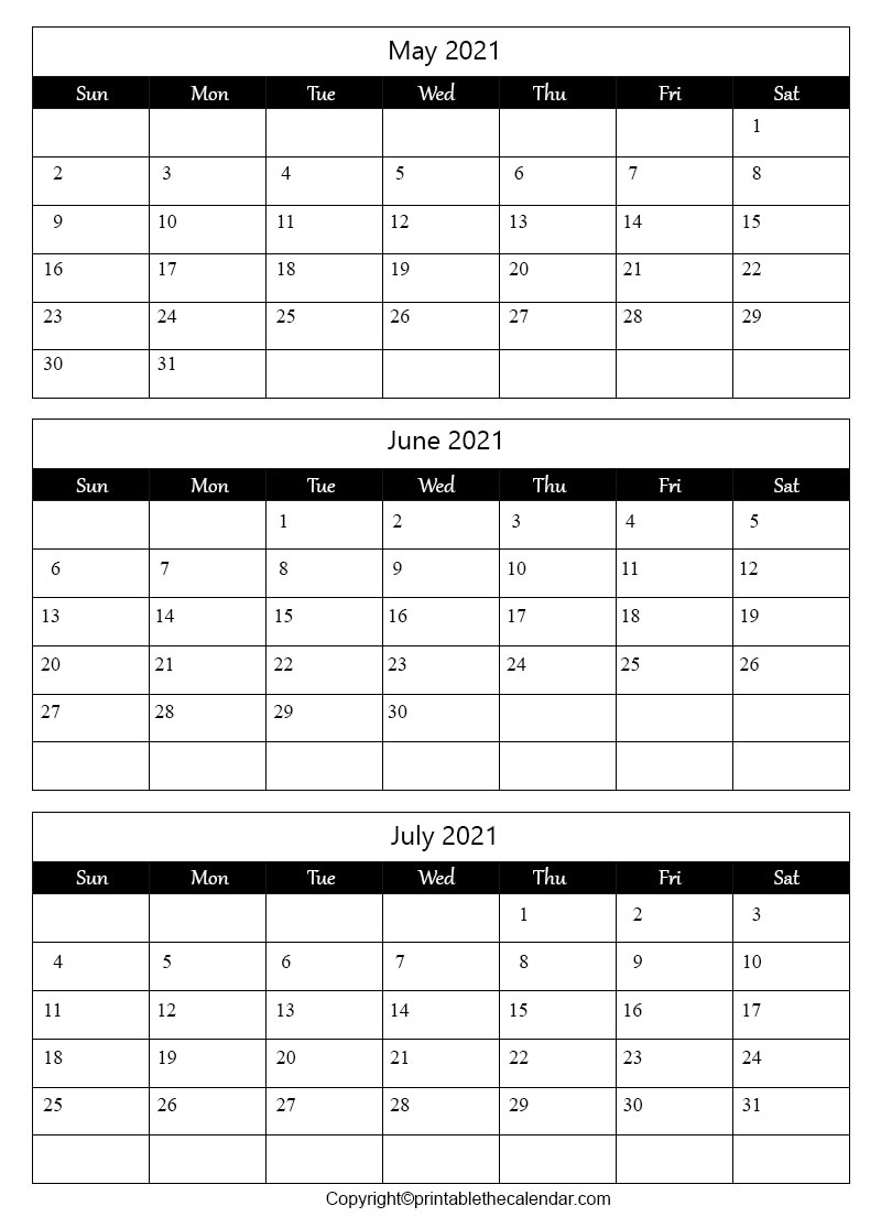 Free Printable May June July Calendar 2021