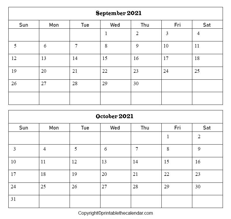 2021 September October Calendar Template