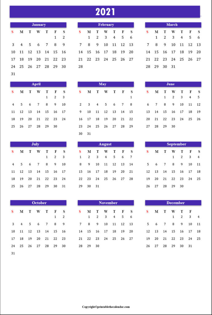 Annual Calendar 2021 | Printable The Calendar