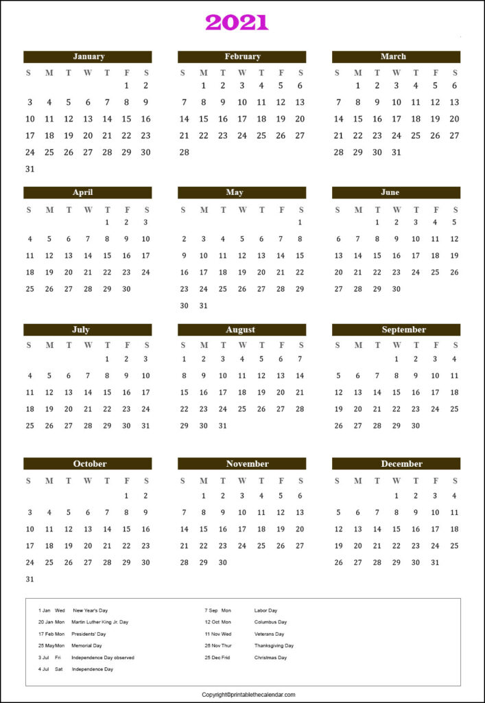 Holiday Calendar 2021