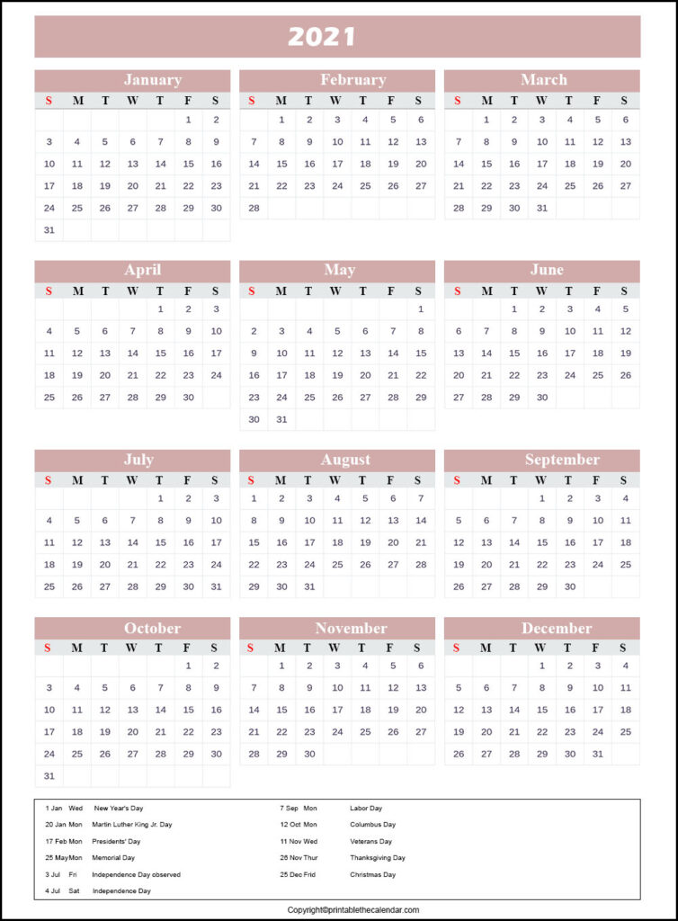 Calendar 2021 with Holidays