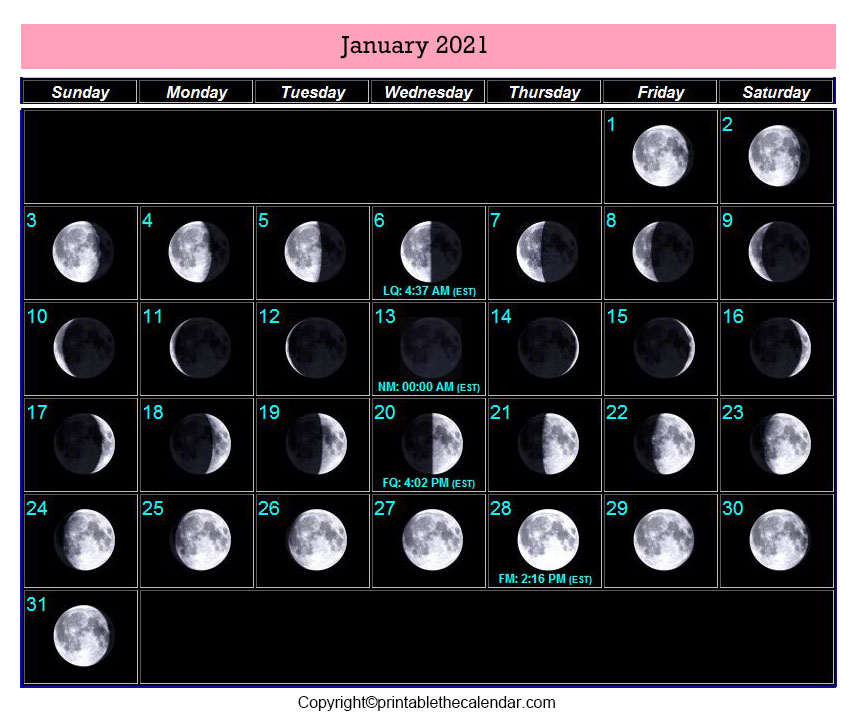 January 2021 Full Moon Calendar
